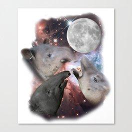 Three Moon Tapirs - Funny Cute Tapir Parody Canvas Print