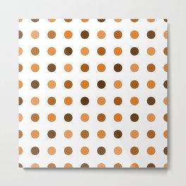 Polka Dots Pattern: Orange Metal Print