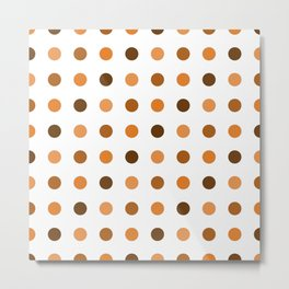 Polka Dots Pattern: Orange Metal Print