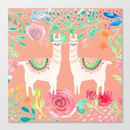 Llama in a floral frame Canvas Print