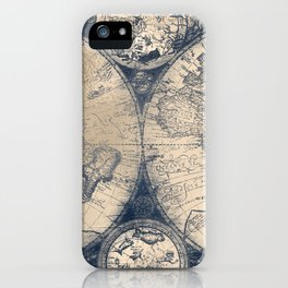 Antique World Map White Gold Navy Blue by Nature Magick iPhone Case