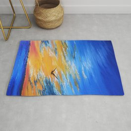 ocean sunset, original oil painting landscape, blue wall art, beach decor Rug