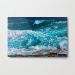 bright blue stormy waters Metal Print