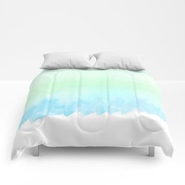 Hand painted turquoise teal blue watercolor ombre brushstrokes Comforters