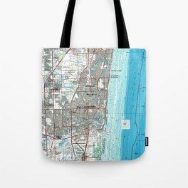 Fort Lauderdale Florida Map (1985) Tote Bag