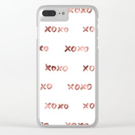 XOXO Fashion Love Rose Gold Pattern Clear iPhone Case