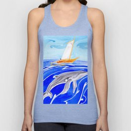 humpback whale and polynesian outrigger sail boat Unisex Tank Top