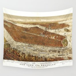 Aerial View of New York and Brooklyn (1875) Wall Tapestry