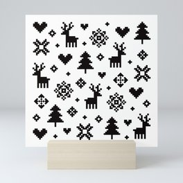 PIXEL PATTERN - WINTER FOREST Mini Art Print