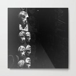 Venetian masks (2) B&W Metal Print