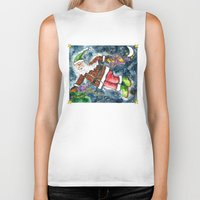 santa Biker Tanks featuring Santa by Shelley Ylst Art