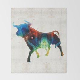 Bull Art Print – Love A Bull 2 – By Sharon Cummings Throw Blanket