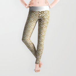 Elegant chic faux gold white japanese wave scallop pattern Leggings