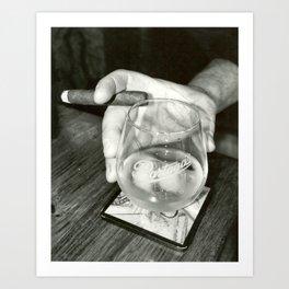 Cigar Shop Scenes No.2-Back & White Art Print