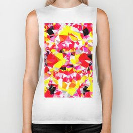 psychedelic geometric triangle polygon abstract pattern in red pink yellow Biker Tank