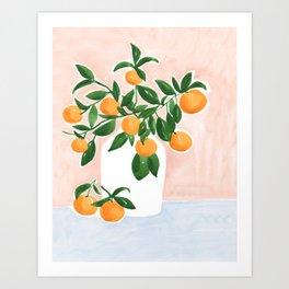 Orange Tree Branch in a Vase Art Print