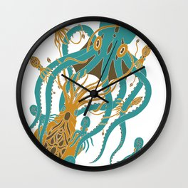 Battle of the Cephalopods Wall Clock