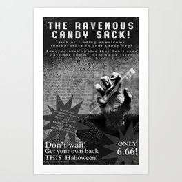 Ravenous Candy Sack Art Print
