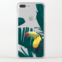 Green Toucan Tropical Banana Leaves Pattern Clear iPhone Case