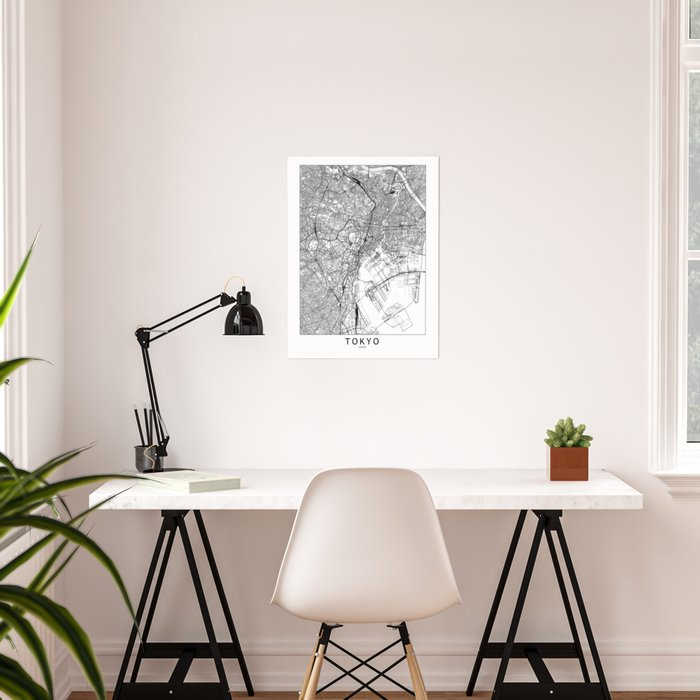 Tokyo White Map Poster