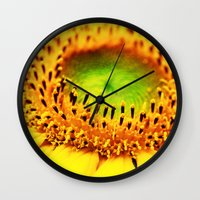 sunflower Wall Clocks featuring Sunflower by Falko Follert Art-FF77
