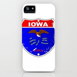 Iowa Flag Icons As Interstate Sign iPhone Case