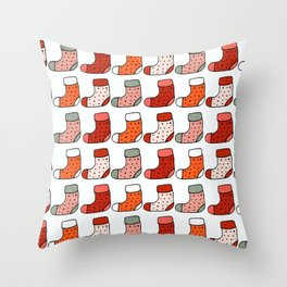 Christmas Stockings Red #Christmas #Holiday Throw Pillow