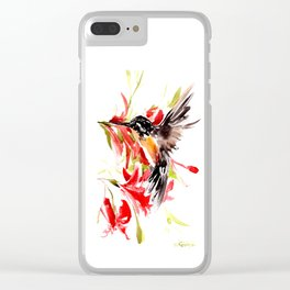 Hummingbird and Red Flowers Clear iPhone Case