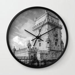 Belem Tower Black white photo Wall Clock