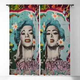 Vintage Woman Graffiti Art Urban Blackout Curtain