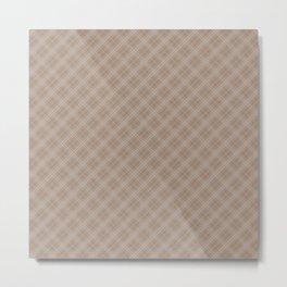 Christmas Woodland Bronzed Brown Diagonal Tartan Check Plaid Metal Print