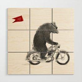 Motorcycle Bear Wood Wall Art
