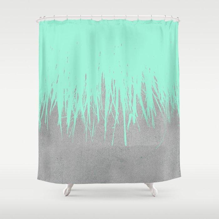 Fringe Concrete Mint Shower Curtain