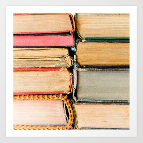 Vintage Books Stacks Art Print