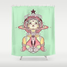 Astronaut Star Girl, Per Aspera Ad Astra Shower Curtain