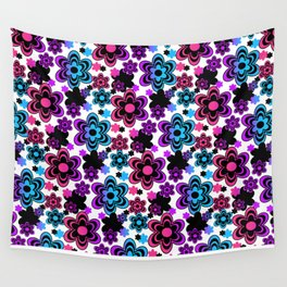 Rainbow Floral Abstract Wall Tapestry