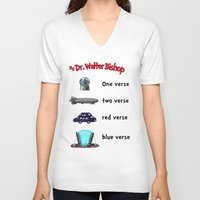 bible verse V-neck T-shirts featuring Fringe One Verse, Two Verse, Red Verse, Blue Verse by Passive Fluency