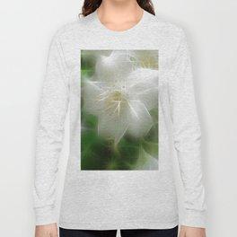 White Shiny Jasmine Long Sleeve T-shirt