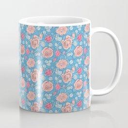 Roses Blue Pink Coffee Mug