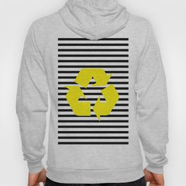 Yellow Recycle Logo - Symbol on a black lines pattern Hoody