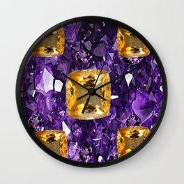 PURPLE AMETHYST & GOLDEN TOPAZ GEM CRYSTALS ART Wall Clock