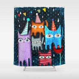 Raining Night Cats Party Shower Curtain