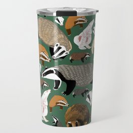 Eurasian badgers pattern Green Travel Mug