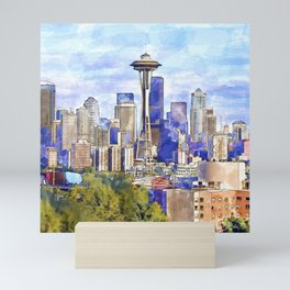 Seattle View in watercolor Mini Art Print
