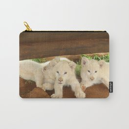White Lion Cubs on the Prowl Carry-All Pouch