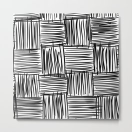 Modern Square Black on White Metal Print