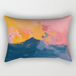 Mountain Peaks Amidst The Sherbet Sky Rectangular Pillow