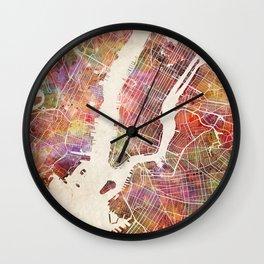 New York Map Watercolor Wall Clock