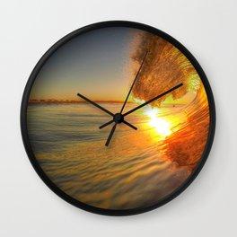 Chris Harsh Photos * Golden Wave At Dawn Wall Clock
