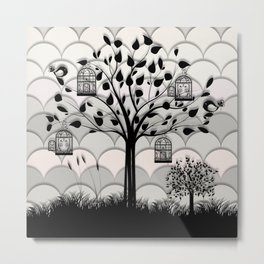 Paper landscape B&W Metal Print